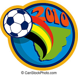 2010 soccer world cup with soccer ball fying over globe with map of south africa
