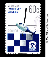 2010, tłoczyć, nagły wypadek, policja, opisywanie, australijski, -, odwołany, opłata pocztowa, circa, australia, :, służby