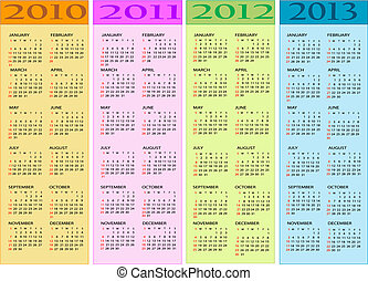 2011, 2010, calendari, 2012