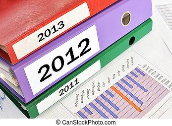 2011, 2012, 2013, folders on a financial report