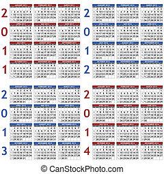 2011-2014, calendario, plantillas