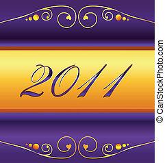 2011, año nuevo, tarjeta