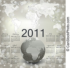 2011 calendar with Map and Globe of the World
