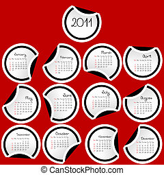 2011 Calendar with stickers with black borders on red background