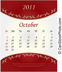 2011, calendario, octubre, -