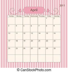 2011, calendario, -, romántico, abril