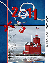 2011 Christmas - 2011 holiday greetings with red lighthouse.