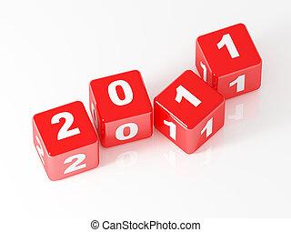 2011, dado, rosso, 3d