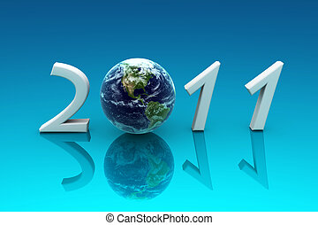 2011 Earth, reflected in a blue background