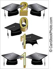 2011, grad, saludo, blanco
