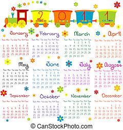 2011, kalender, hos, tog, by, børn