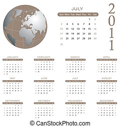 2011, kalender, -, juli