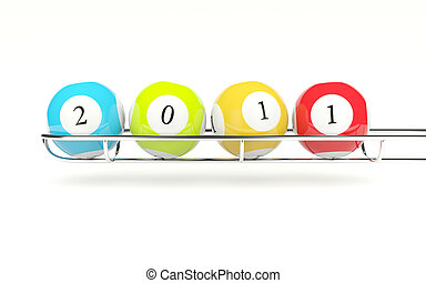 2011 lottery balls isolated on white