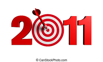 New Year 2011 whit a red and target and dart - 3d render business concept