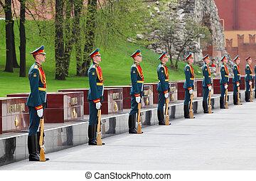 2011, skwer, 8, żołnierz, może, nieznany, moskwa, -, moskwa, 8:, kładąc, wieńce, zwycięstwo, russia., wojsko, grób, dzień, czerwony, hałas