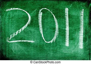 2011 written with chalk on a blackboard