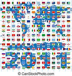 2011, year., compleet, set, van, vlaggen van de wereld