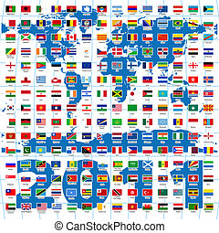 2011, year., completo, conjunto, de, banderas del mundo