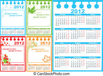 2012, カレンダー
