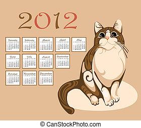 2012, カレンダー, トラネコ猫