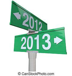 2012, 年, 改變, 到, 2013, 綠色, 雙向, 路標