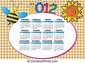 2012, 蜂, カレンダー