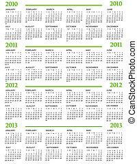2012, 2011, kalender, 2010, 2013