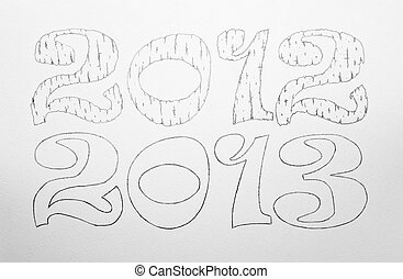 2012 and 2013 painted on white paper by hand