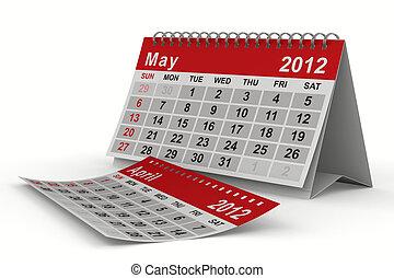 2012, anno, calendar., may., isolato, 3d, immagine