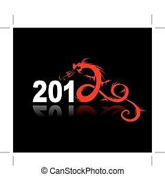 2012, anno, di, drago, illustrazione, per, tuo, disegno
