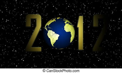 2012, ano novo, com, girar, terra