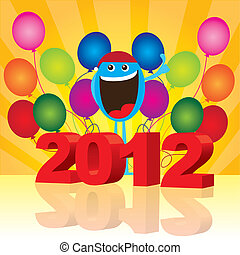 2012 background - 2012 with happy face and balloons over...