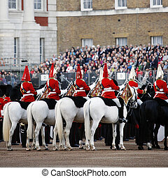 LONDON - JUNE 13: Mounted Bands at Beating Retreat on June 13, 2012 in London, UK. Beating Retreat is a military ceremony, performed by military bands, takes place on Horse Guard Parade in White Hall.