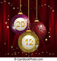 2012 bingo baubles - Festive New year baubles on a red silk ...