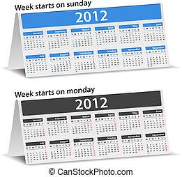 2012, bureau, kalenders