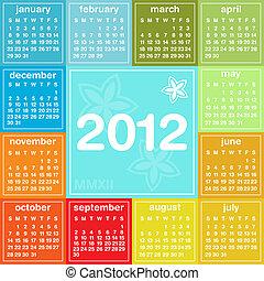 2012, calendário