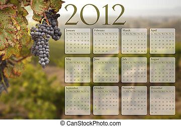 2012, calendário, com, uva, vinhedo, fundo