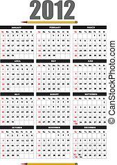 2012, calendário, flor, image., v
