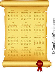 2012 Calendar on scroll