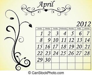 2012 Calendar Set 2 Decorative Flourish April
