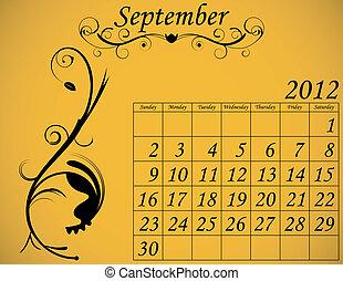 2012 Calendar Set 2 Decorative Flourish September