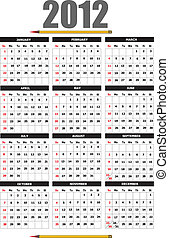 2012 calendar with flower image. Vector illustration