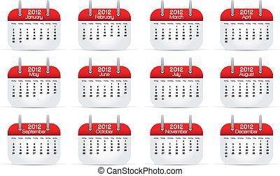2012, calendario, anual, inglés