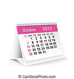 2012, calendario, ottobre, scrivania