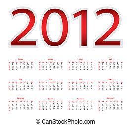 2012, calendario
