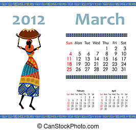 2012, calendrier, femme, africaine