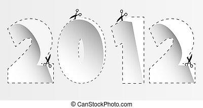 2012, carta, per, tuo, design., vettore, illustrazione
