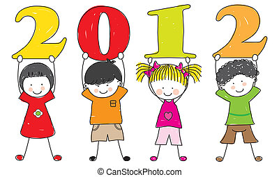 children with the numbers of the new year