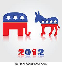 2012, demócrata, y, republicano, símbolos