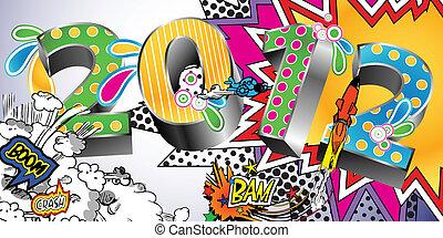 2012, em, um, coloridos, livro cômico, estilo